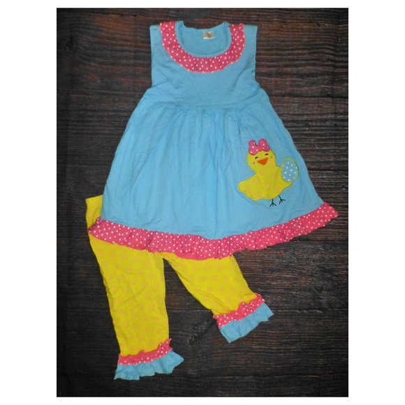 Other - Boutique Easter Chick Dress Ruffle Leggings Outfit